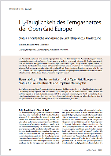 H2-Tauglichkeit des Ferngasnetzes der Open Grid Europe