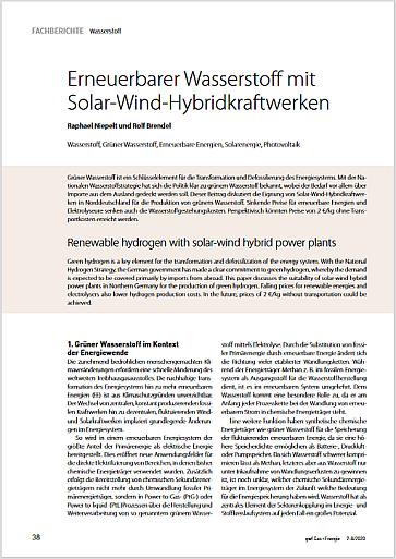 Erneuerbarer Wasserstoff mit Solar-Wind-Hybridkraftwerken