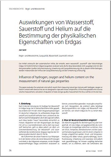 Auswirkungen von Wasserstoff, Sauerstoff und Helium auf die Bestimmung der physikalischen Eigenschaften von Erdgas