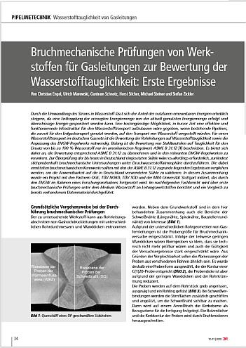 Bruchmechanische Prüfung von Werkstoffen für Gasleitungen zur Bewertung der Wasserstofftauglichkeit