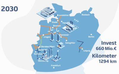 1.294 km Wasserstoff-Pipelines innerhalb der nächsten zehn Jahre